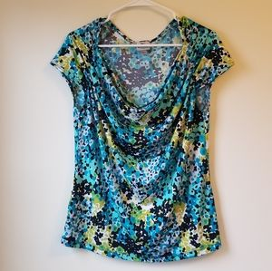 Blue and Green Floral Top